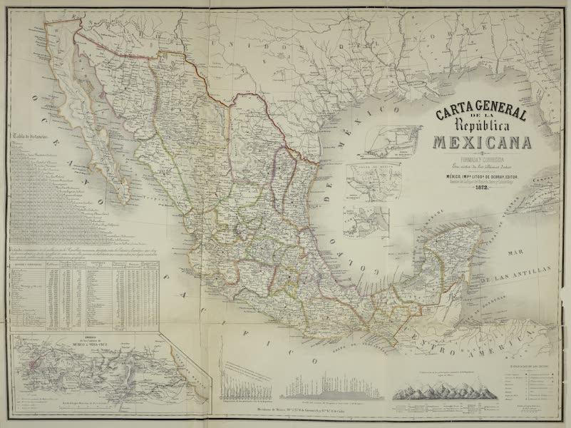 Mexico y sus Alrededories - Carta General de la Republica Mexicana 1872 (1869)