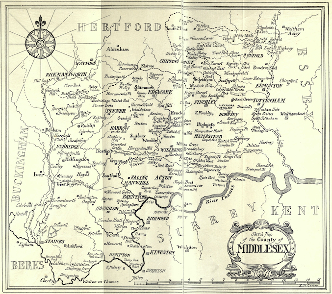 Middlesex Painted and Described - Sketch Map of Middlesex (1907)