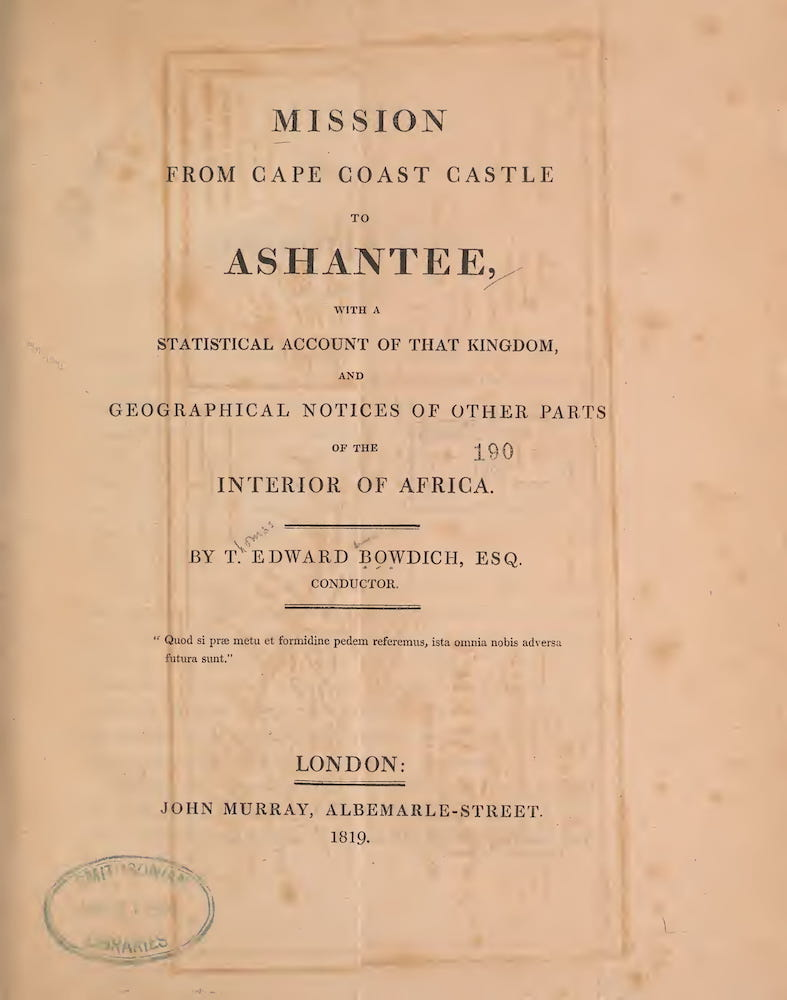 Slavery - Mission from Cape Coast Castle to Ashantee