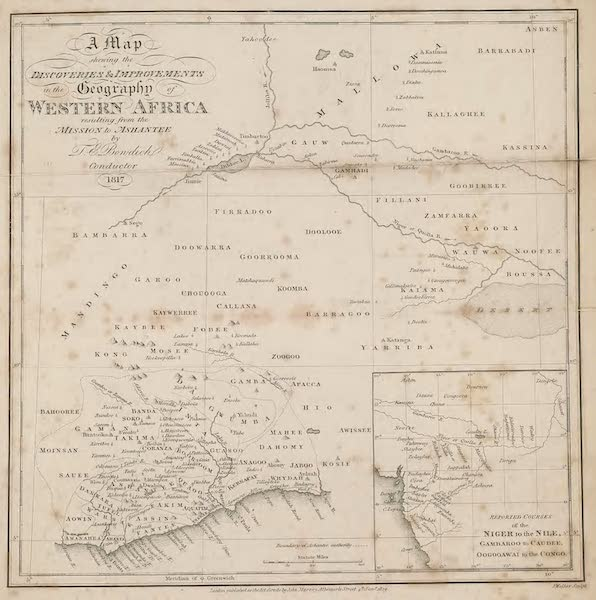 Mission from Cape Coast Castle to Ashantee - Map (1819)