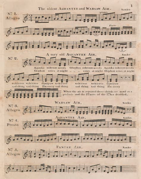 Mission from Cape Coast Castle to Ashantee - Sheet Music (I) (1819)
