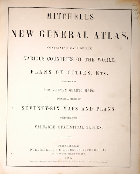 Mitchell's New General Atlas - Title Page (1861)