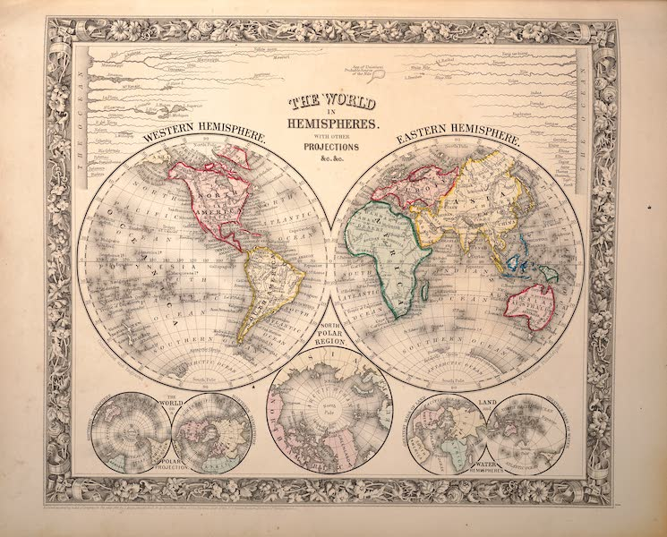 Mitchell's New General Atlas - The World in Hemispheres (1861)