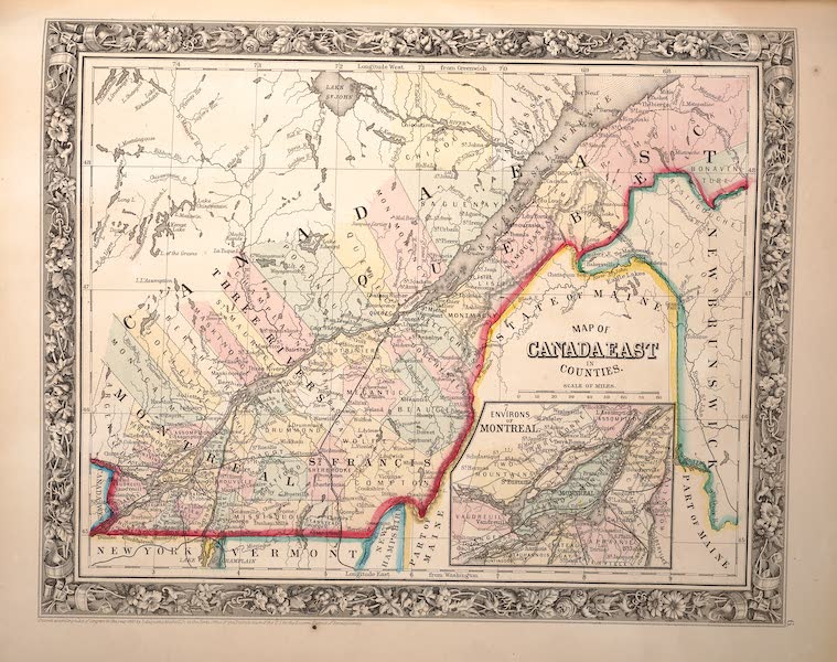 Mitchell's New General Atlas - Map of Canada East in Counties (1861)