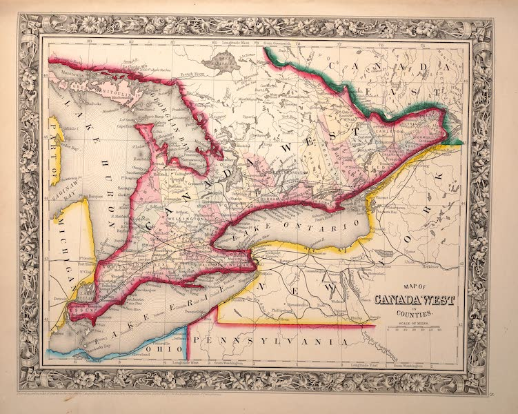 Mitchell's New General Atlas - Map of Canada West in Counties (1861)