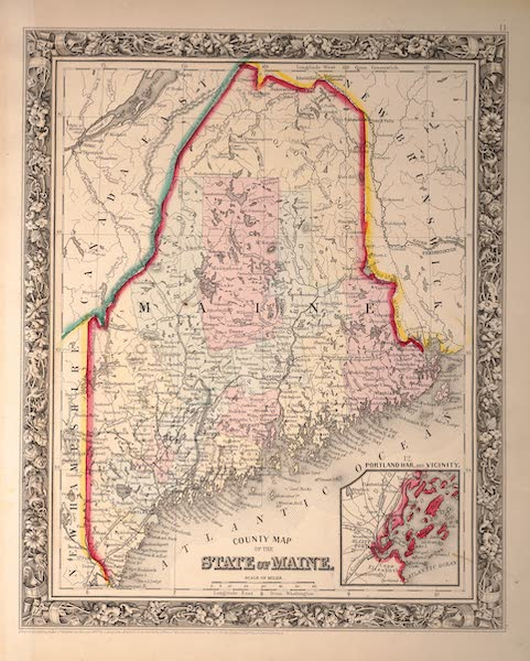 Mitchell's New General Atlas - County Map of the State of Maine (1861)