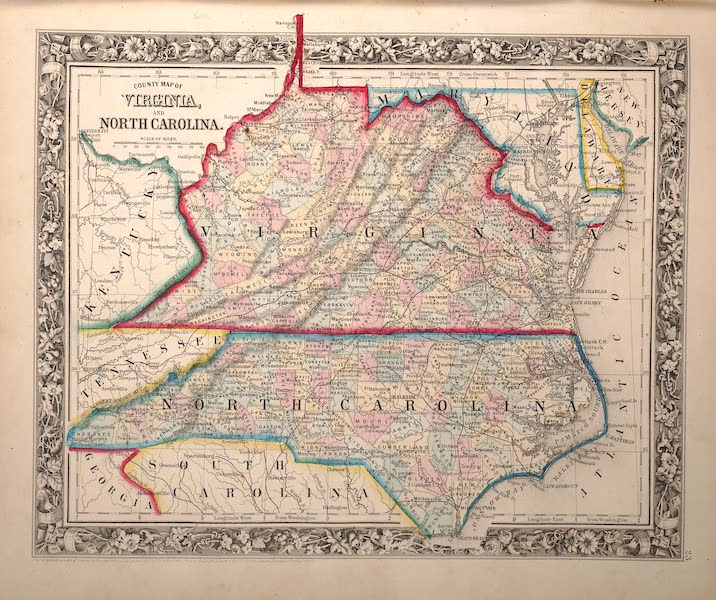 Mitchell's New General Atlas - County Map of Virginia and North Carolina (1861)
