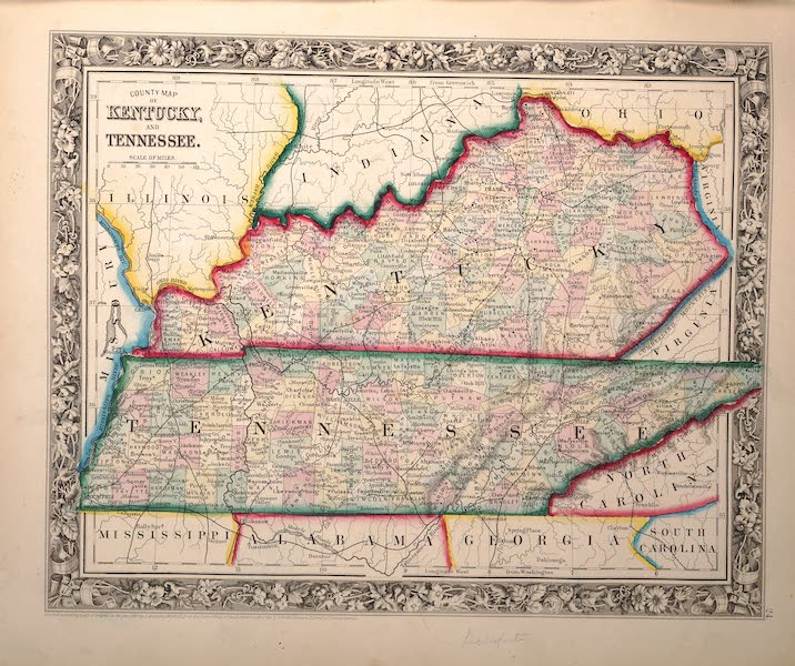 Mitchell's New General Atlas - County Map of Kentucky and Tennessee (1861)