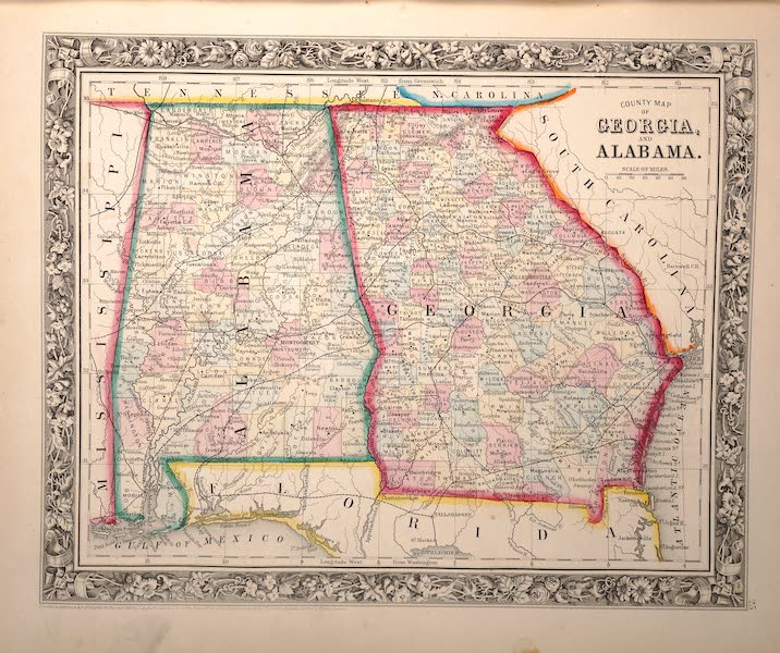 Mitchell's New General Atlas - County Map of Georgia and Alabama (1861)