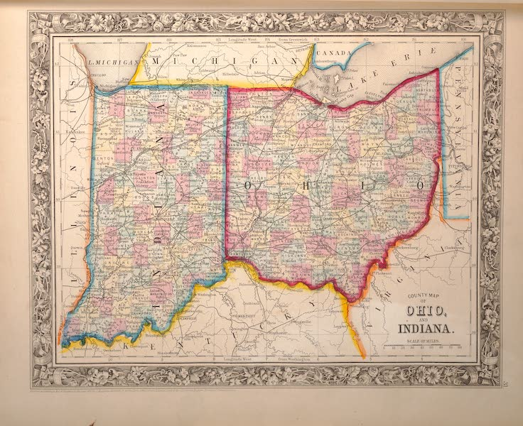 Mitchell's New General Atlas - County Map of Ohio and Indiana (1861)