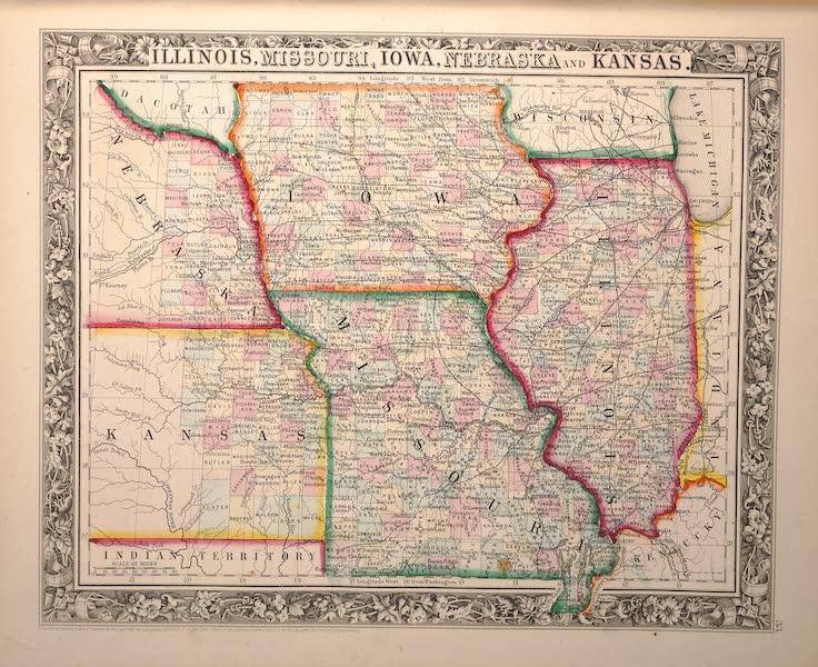 Mitchell's New General Atlas - Illinois, Missouri, Iowa, Nebraska, and Kansas (1861)