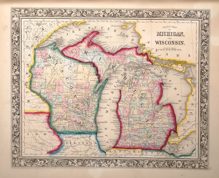 Mitchell's New General Atlas - County Map of Michigan and Wisconsin (1861)