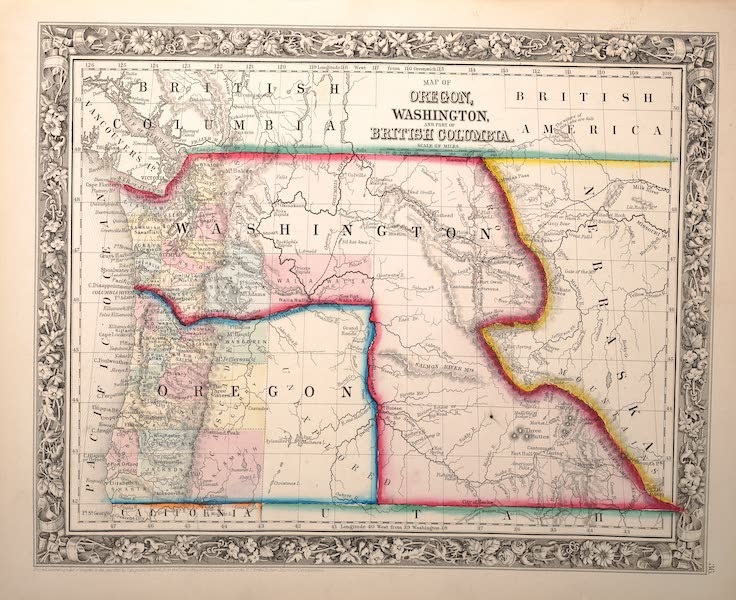 Mitchell's New General Atlas - Map of Oregon, Washington and Part of British Columbia (1861)