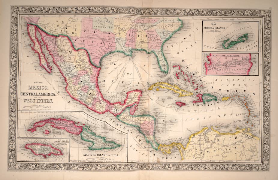 Mitchell's New General Atlas - Map of Mexico, Central America and the West Indies (1861)