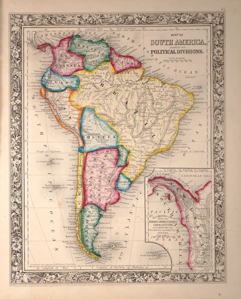 Mitchell's New General Atlas - Map of South America Showing It's Political Divisions (1861)