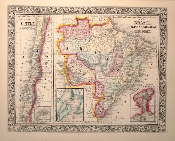 Mitchell's New General Atlas - [I] Map of Chili [II] Map of Brazil, Bolivia, Paraguay and Uruguay (1861)