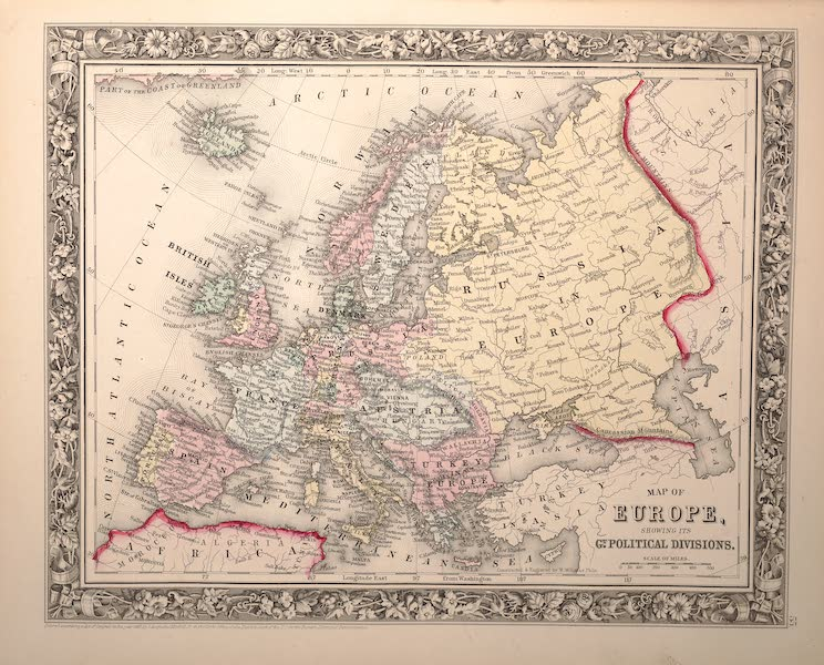 Mitchell's New General Atlas - Map of Europe Showing It's Political Divisions (1861)