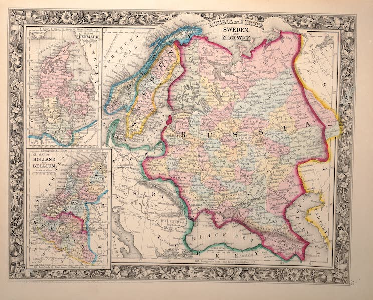 Mitchell's New General Atlas - [I] Map of Denmark [II] Map of Holland and Belgium [III] Russia in Europe, Sweden and Norway (1861)
