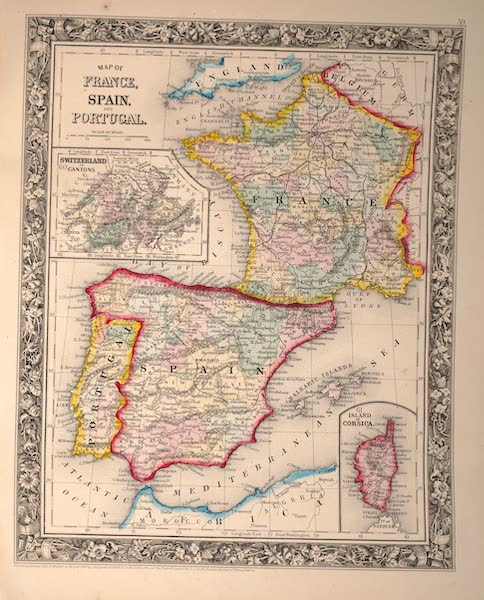 Mitchell's New General Atlas - Map of France, Spain and Portugal (1861)