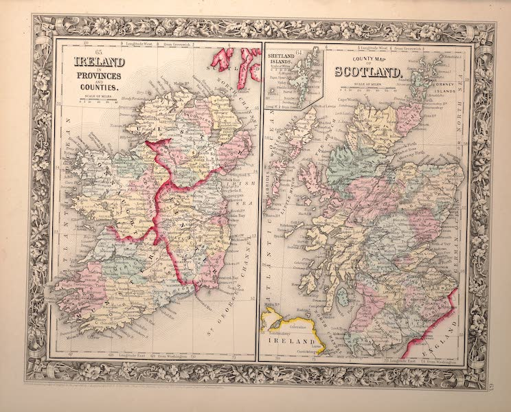 Mitchell's New General Atlas - [I] Ireland in Provinces [II] Counties County Map of Scotland (1861)