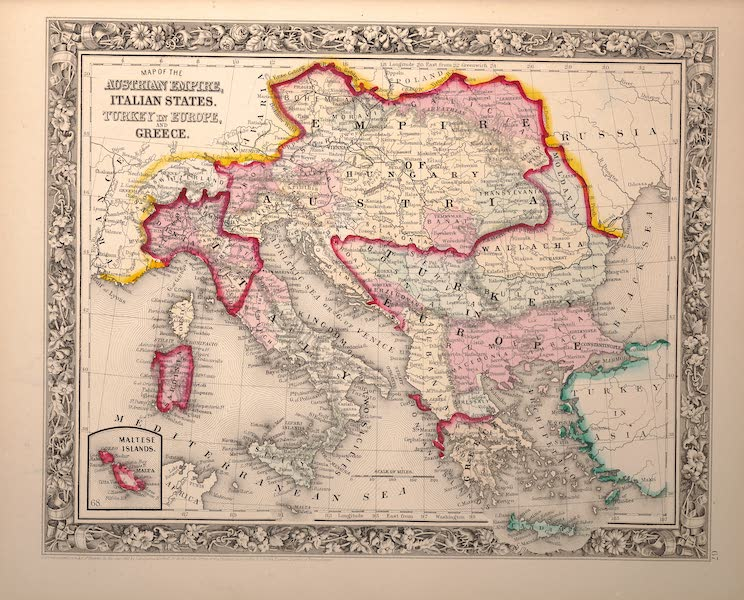 Mitchell's New General Atlas - Map of the Austrian Empire, Italian States, Turkey in Europe and Greece (1861)