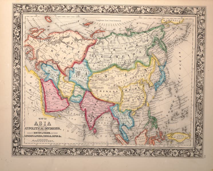Mitchell's New General Atlas - Map of Asia Showing It's Political Divisions (1861)