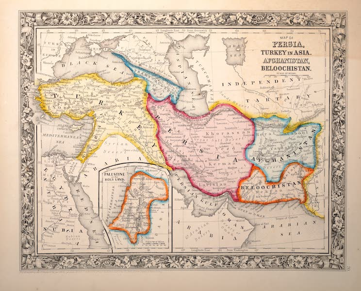 Mitchell's New General Atlas - Map of Persia, Turkey in Asia, Afghanistan, Beloochistan (1861)