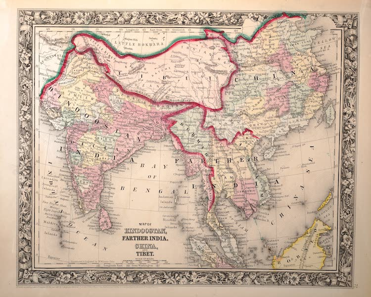 Mitchell's New General Atlas - Map of Hindoostan, Farther India, China and Tibet (1861)