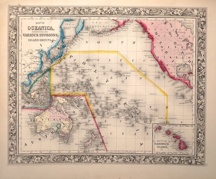 Mitchell's New General Atlas - [1] Map of Oceanica Exhibiting It's Various Divisions Island Groups &c. [2] Map of the Sandwich Islands [Hawaii] (1861)