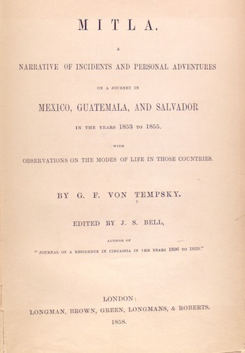 Mitla. A Narrative of Incidents - Title Page (1858)