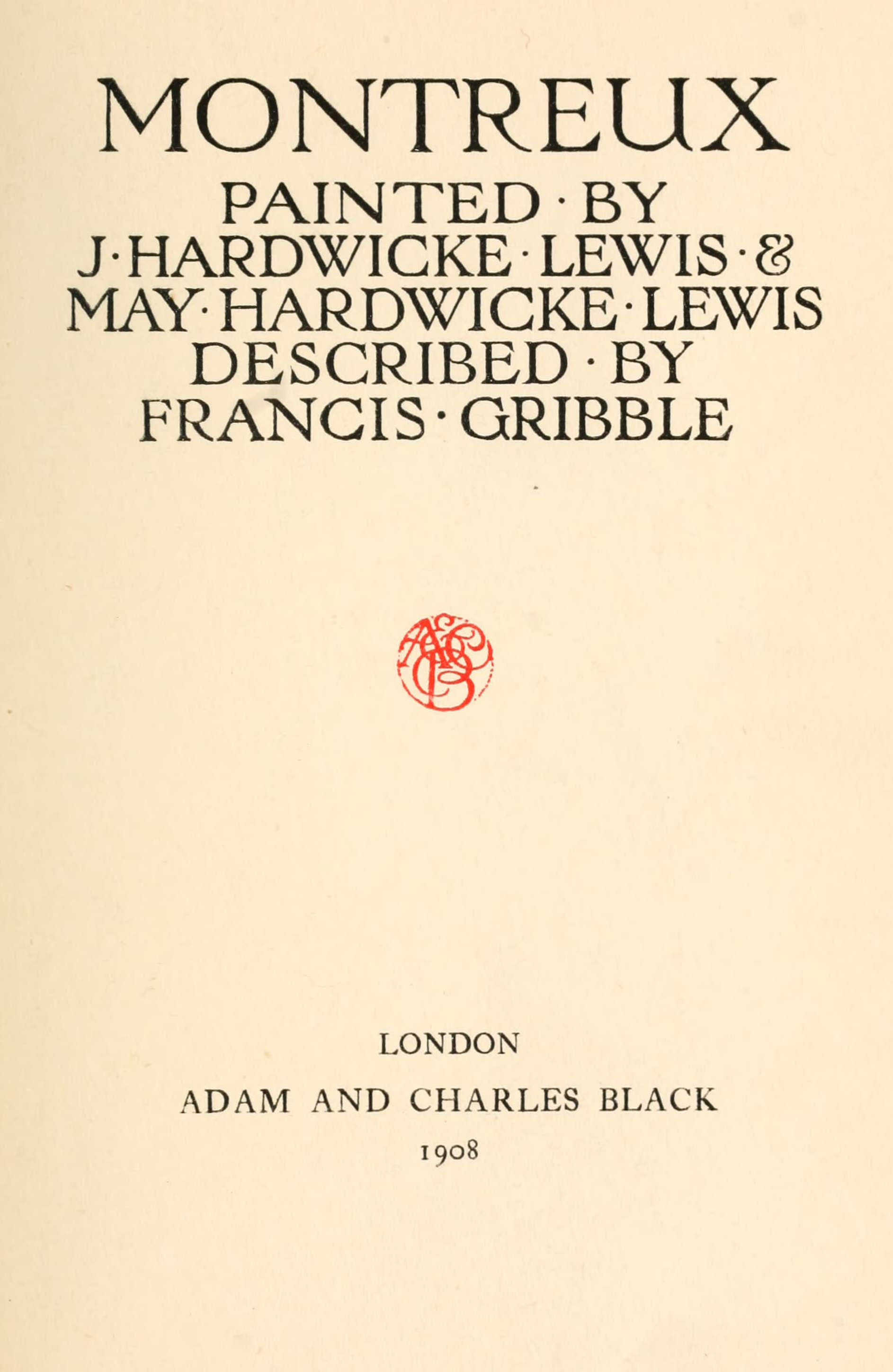 Montreux, Painted and Described - Title Page (1908)