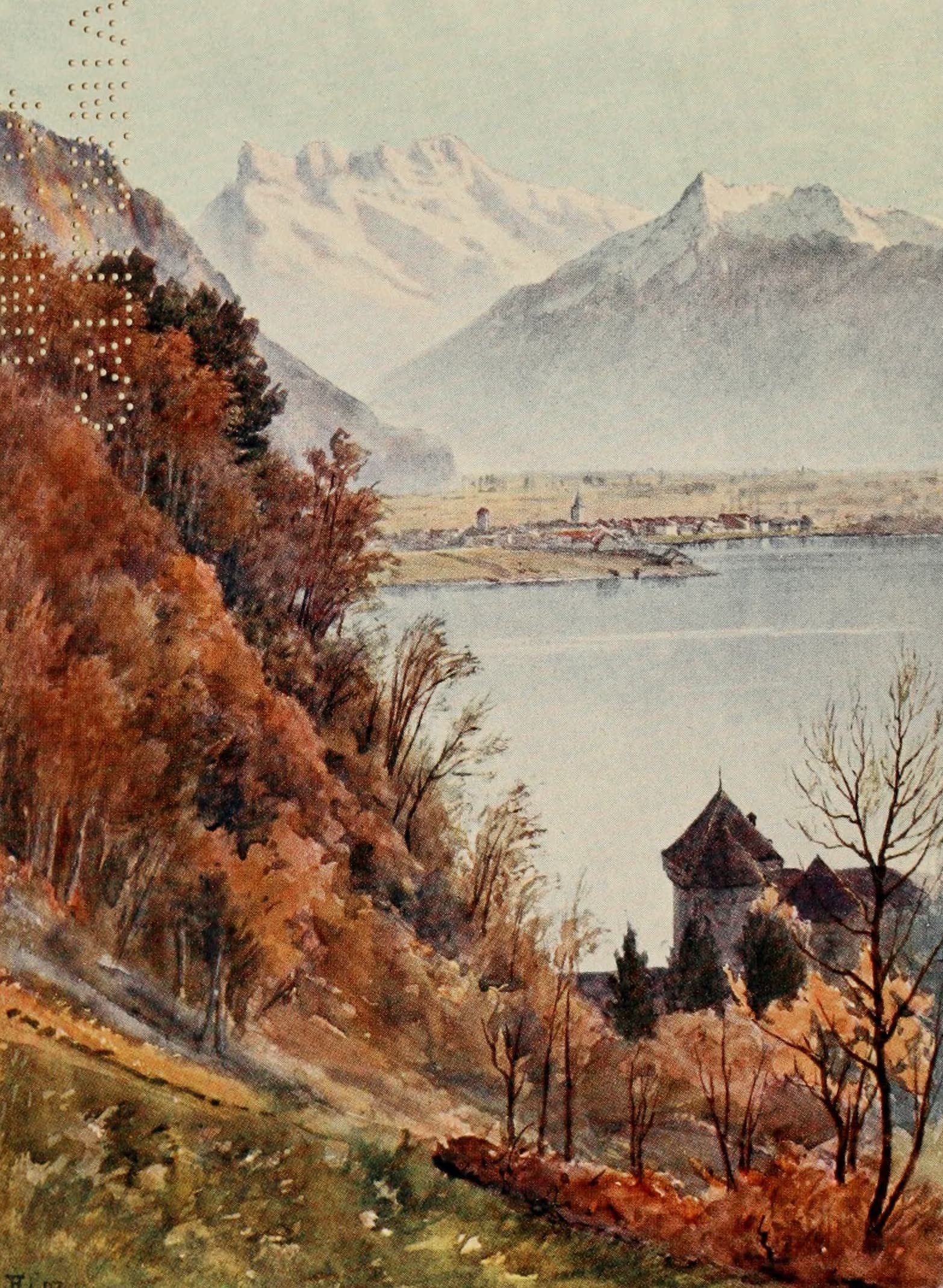Montreux, Painted and Described - Chillon and Rhone Valley from Veytaux (1908)