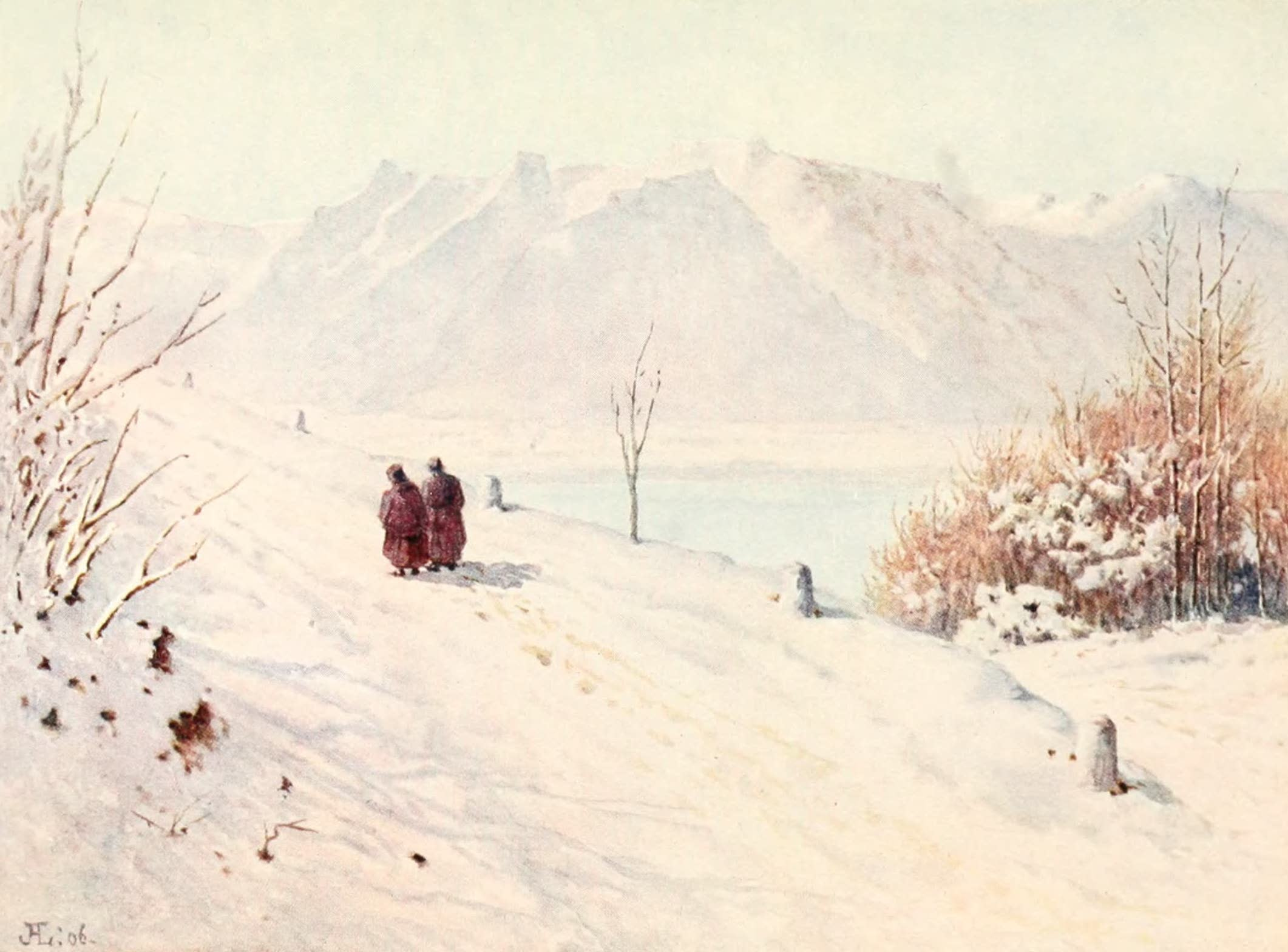Montreux, Painted and Described - The Savoy Alps (Winter) from the Road to Caux (1908)