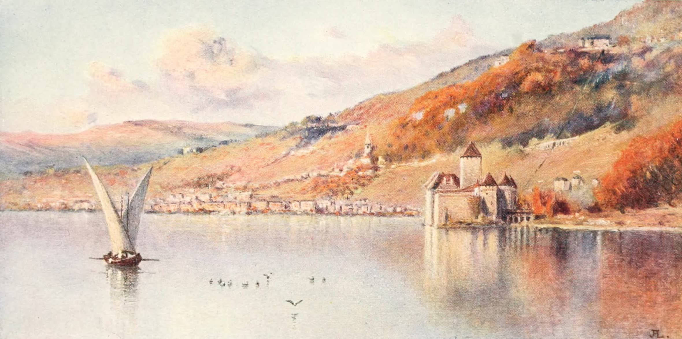 Montreux, Painted and Described - Montreux from the Lake : Autumn (1908)