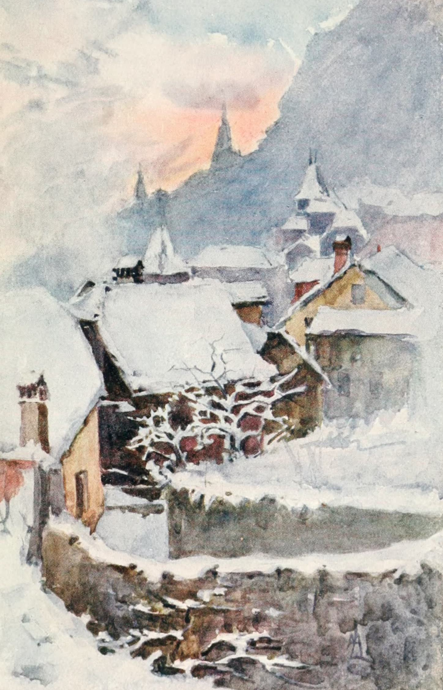 Montreux, Painted and Described - A Peep of Old Montreux, over Veraye : Winter Evening (1908)