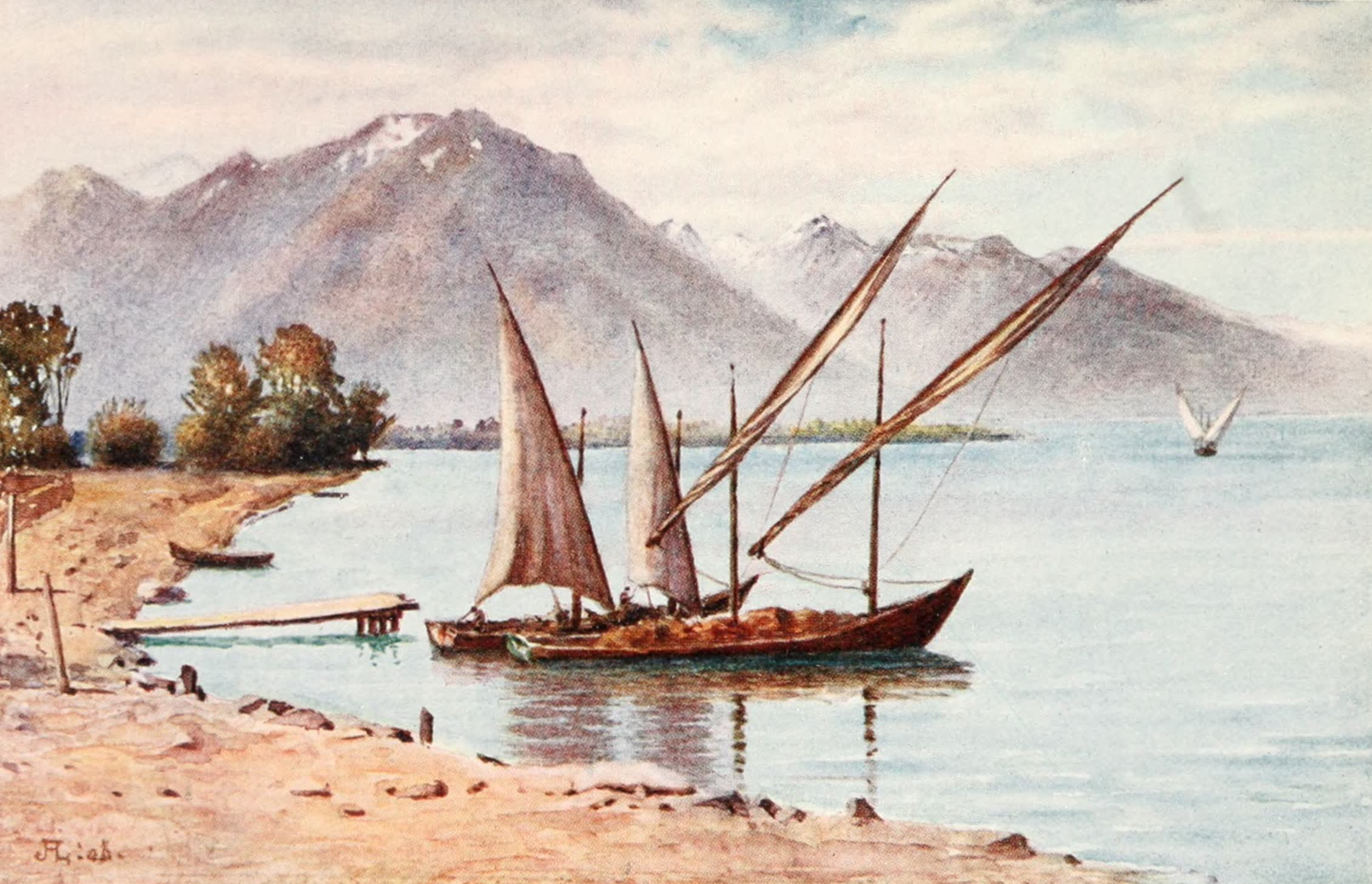 Montreux, Painted and Described - The Savoy Alps from Villeneuve (1908)