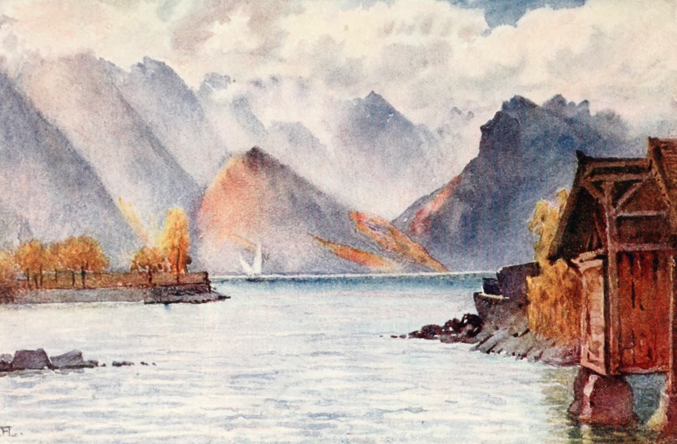 Montreux, Painted and Described - The Savoy Alps from the Bathing-place at Clarens (1908)