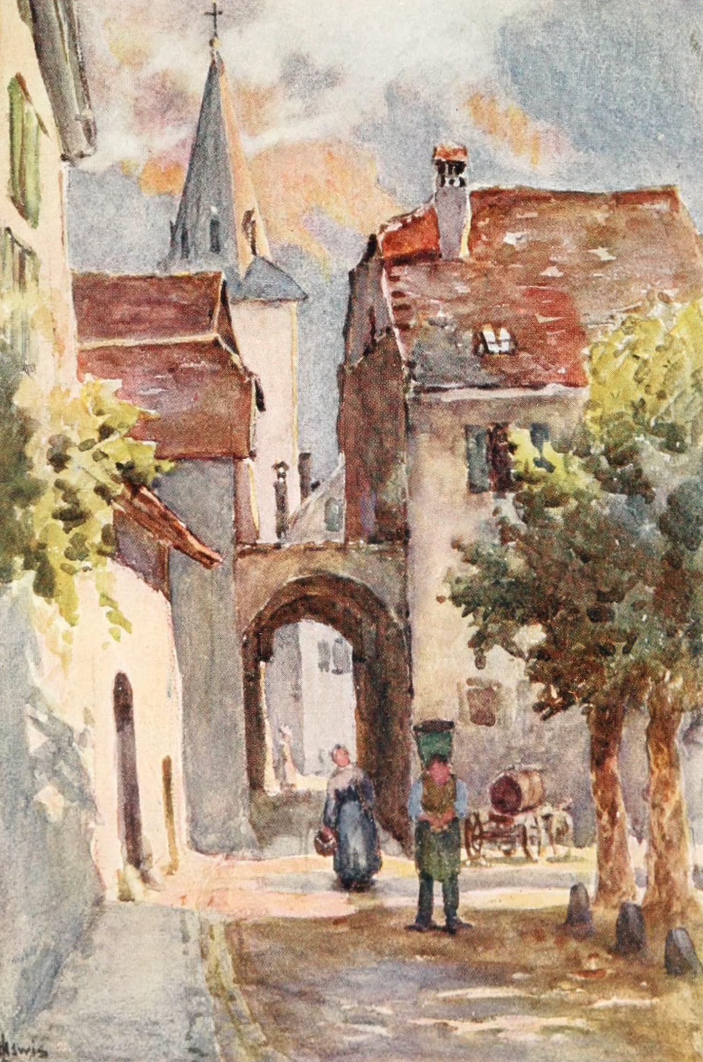 Montreux, Painted and Described - A Corner in Villeneuve (1908)