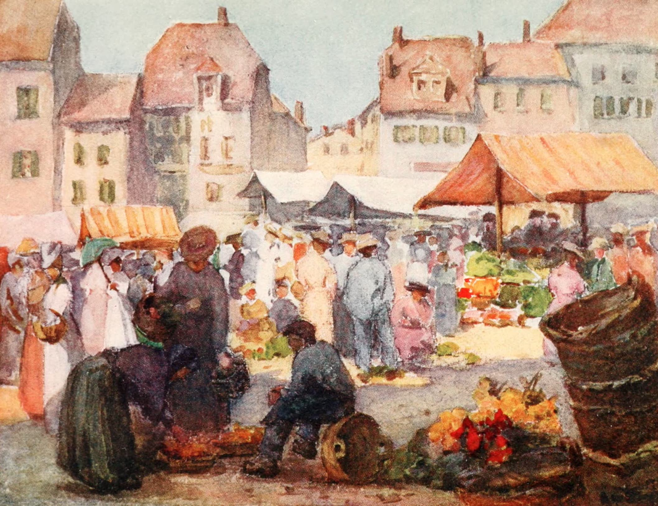 Montreux, Painted and Described - The Market Place, Vevey (1908)