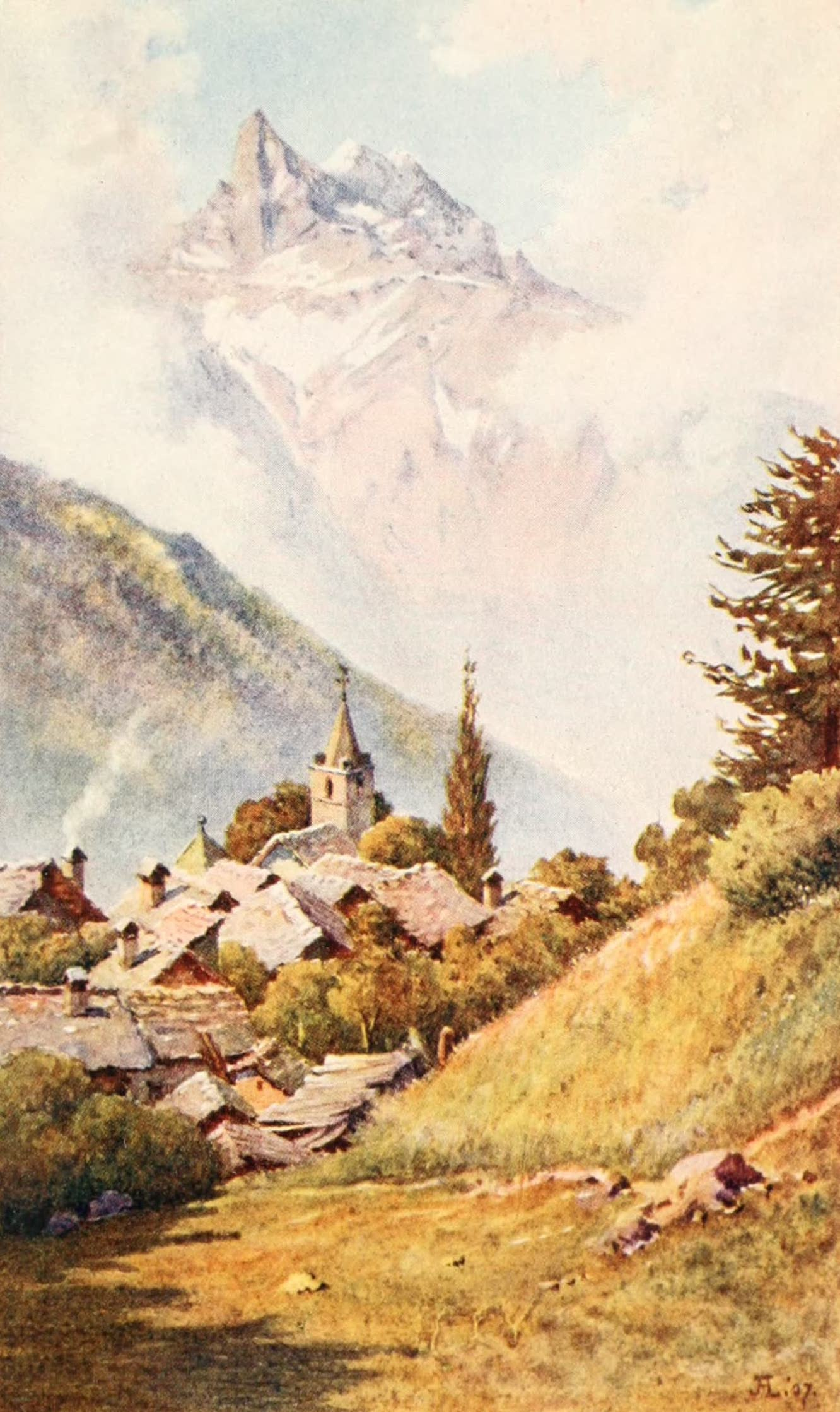 Montreux, Painted and Described - The Dents du Midi from Gryon, above Bex (1908)