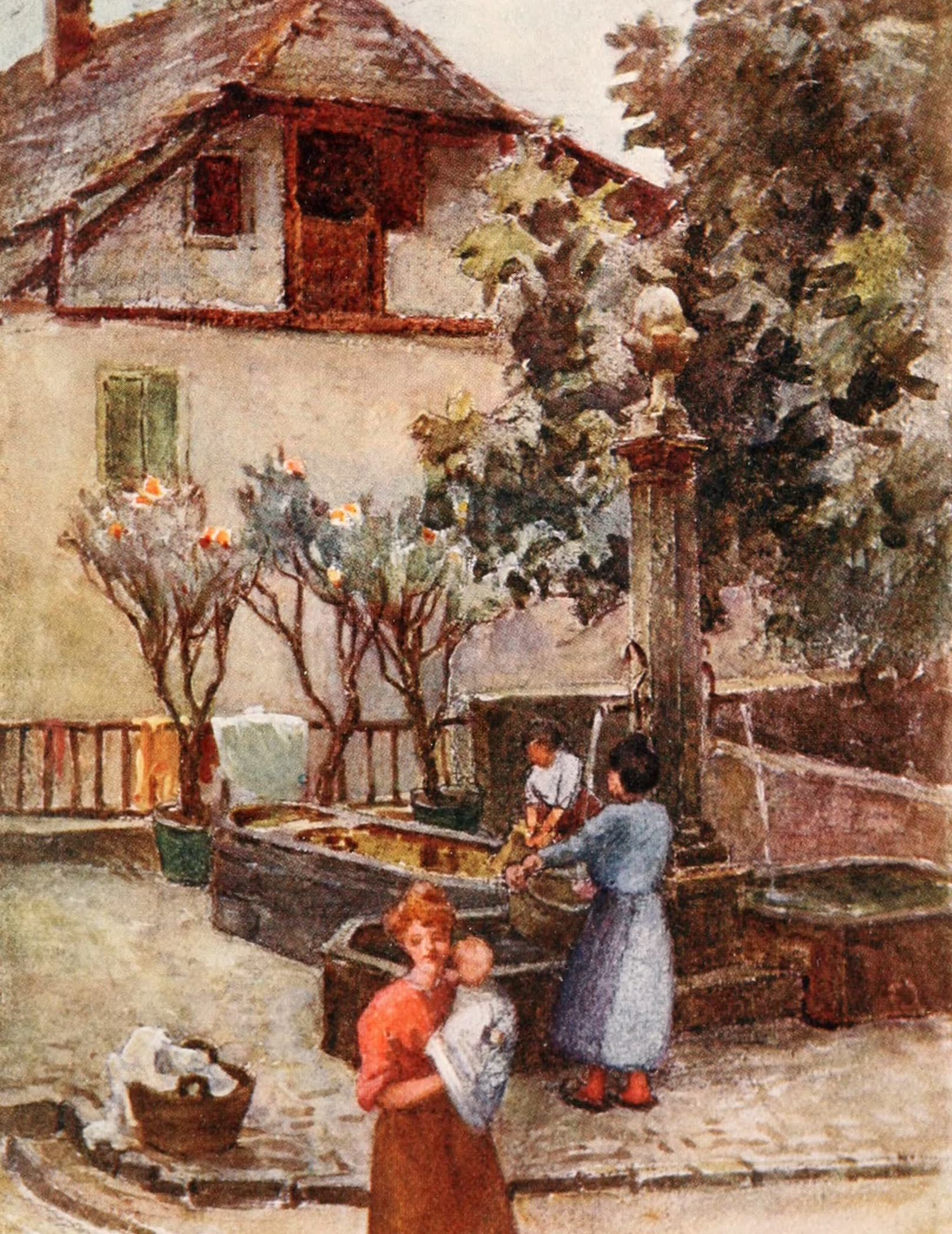 Montreux, Painted and Described - The Fountain in Veytaux Village (1908)