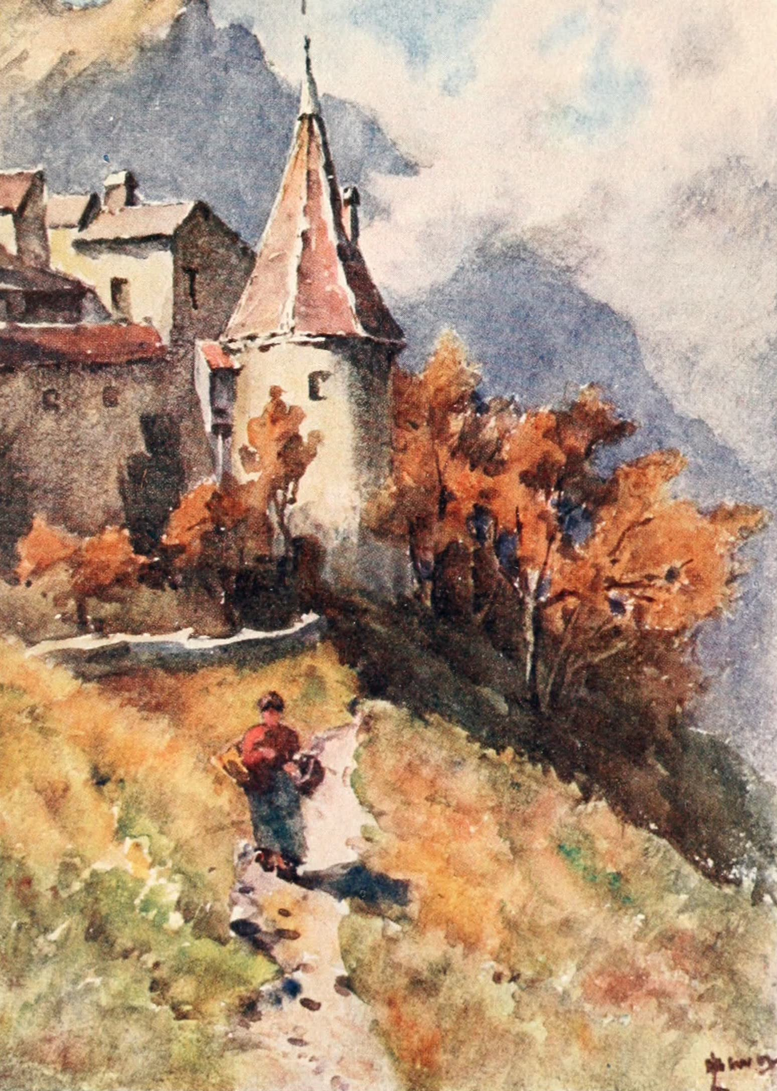 Montreux, Painted and Described - The North End of Aigle Castle (1908)