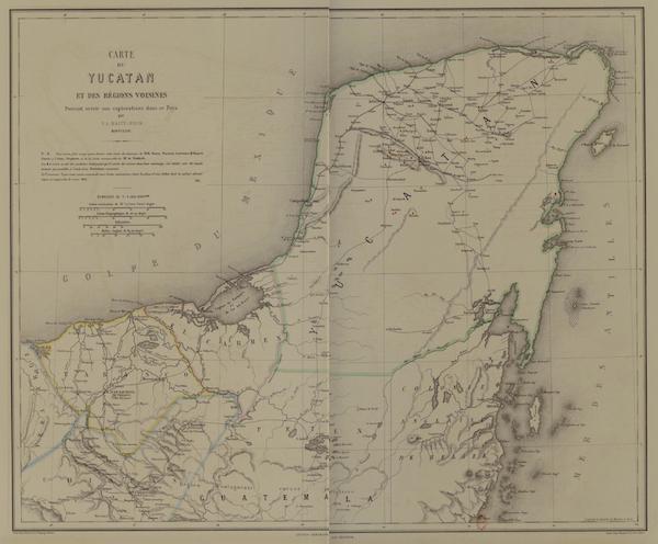 Monuments anciens du Mexique - Carte de Yucatan, dressee par M. de Waldeck (1866)