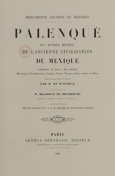 Monuments anciens du Mexique - Title Page 1 (1866)