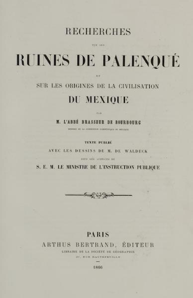Monuments anciens du Mexique - Title Page 2 (1866)