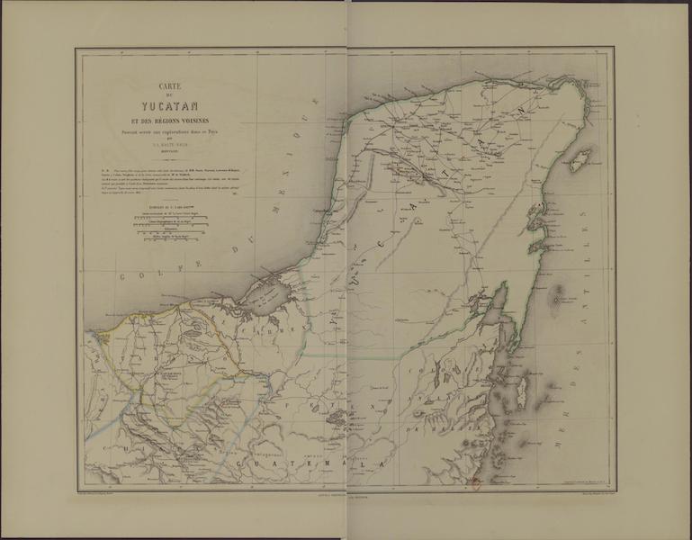 Monuments anciens du Mexique - Pt. I et II - Carte de Yucatan, dressee par M. de Waldeck (1866)