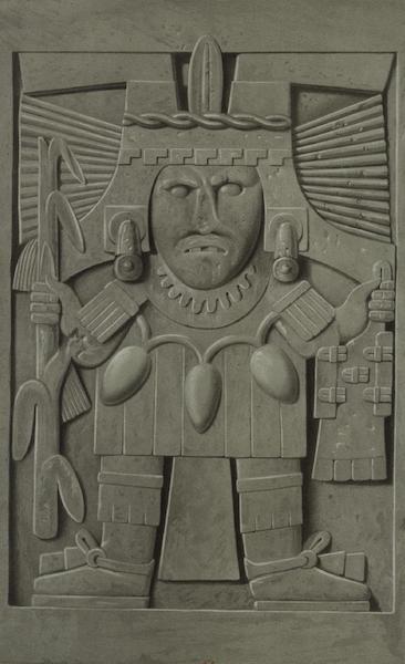 Monuments anciens du Mexique - Pt. V - Figure etrange qui offre une certaine ressemblance avec les valets des cartes a jouer (1866)