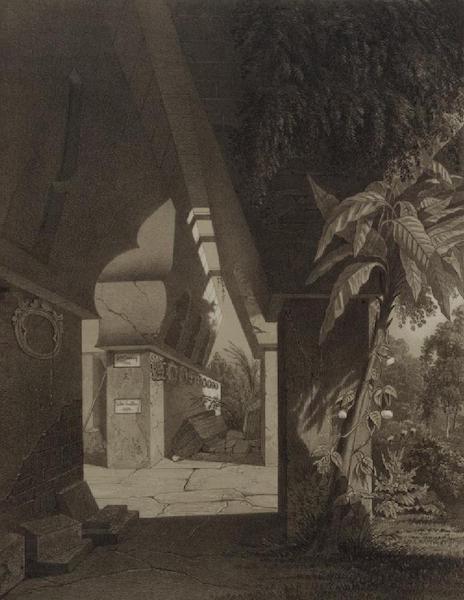 Monuments anciens du Mexique - Pt. IX (guache) Vue en perspective de la premiere galerie et du palais (1866)