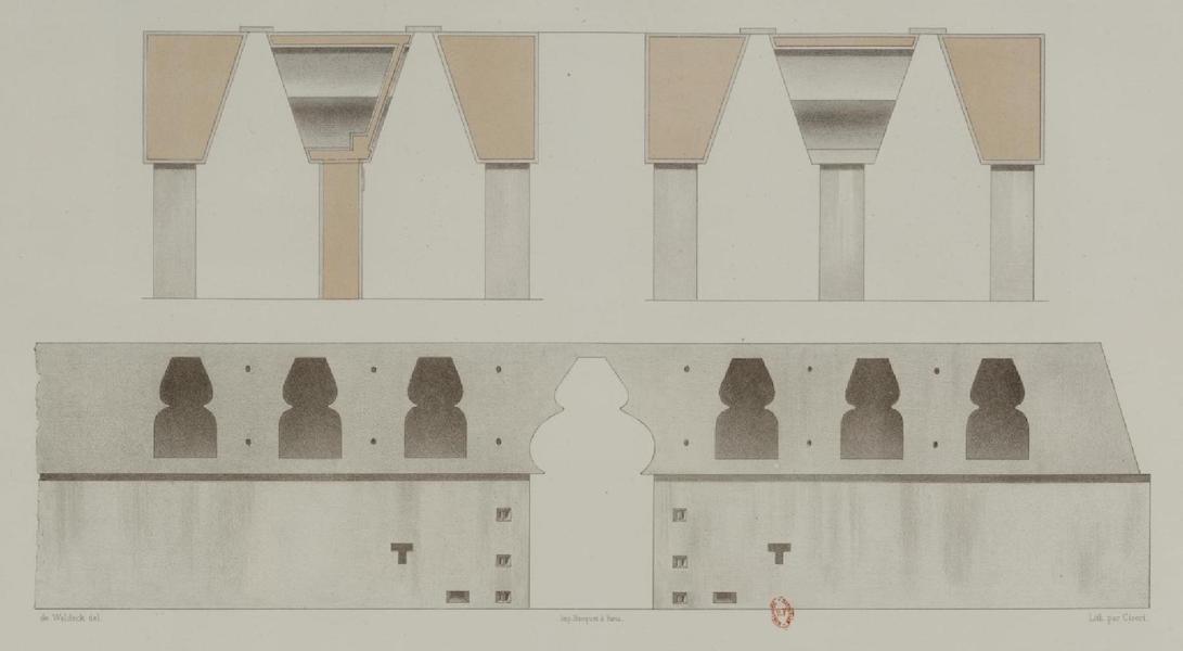 Monuments anciens du Mexique - Pt. X - Coupes transversales des galeries qui font le tour du palais (1866)