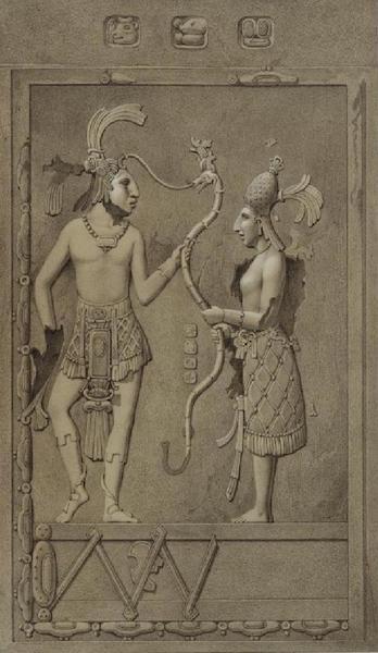 Monuments anciens du Mexique - Pt. XIII, Fig. 1 - Relief du pilier exterieur ouest, marque 22 sans le plan (1866)